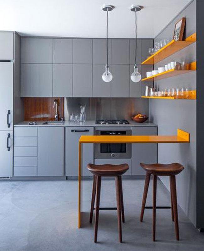 Интерьер маленькая кухня с барной стойкой дизайн
